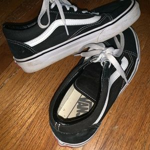 Black with white stripe VANS!